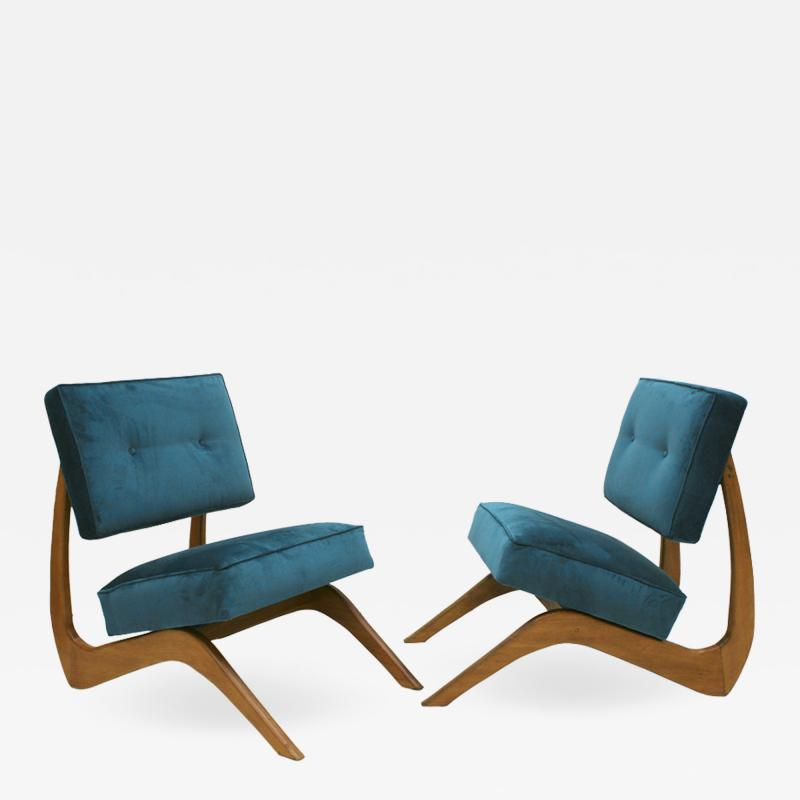 Adrian Pearsall Adrian Pearsall Mid Century Modern Walnut pair of American Armchairs