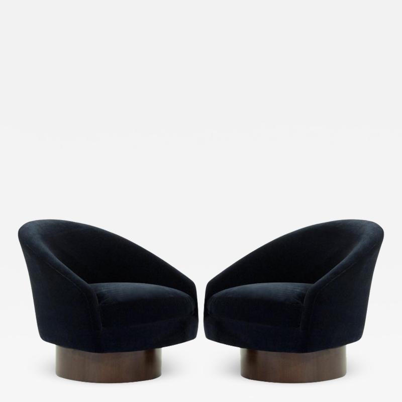 Adrian Pearsall Adrian Pearsall for Craft Associates Swivel Chairs in Deep Blue Mohair