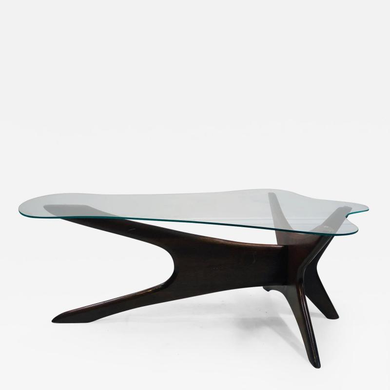 Adrian Pearsall Adrian Persall Midcentury Modern Coffee Table with Glass Top