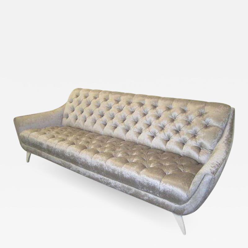 Adrian Pearsall Amazing Regency Modern Silver Grey Velvet Tufted Sofa Mid Century Modern