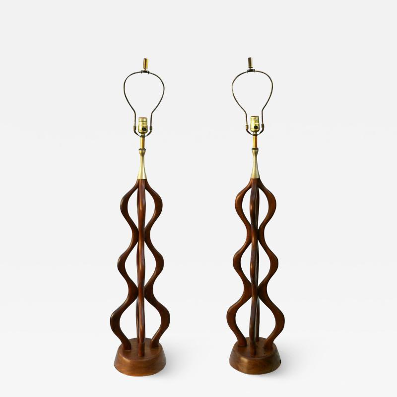 Adrian Pearsall Mid Century Danish Modern Large Sculptural Table Lamps Attrib Adrian Pearsall
