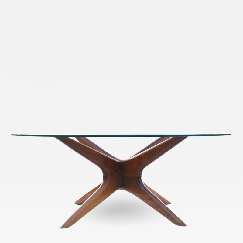 Adrian Pearsall Mid Century Modern Sculpted Glass Top Cocktail Coffee Table by Adrian Pearsall