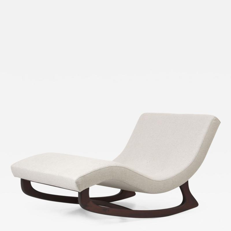 Adrian Pearsall Newly Upholstered Adrian Pearsall Rocking Chaise in Dedar Fabric USA 1950s