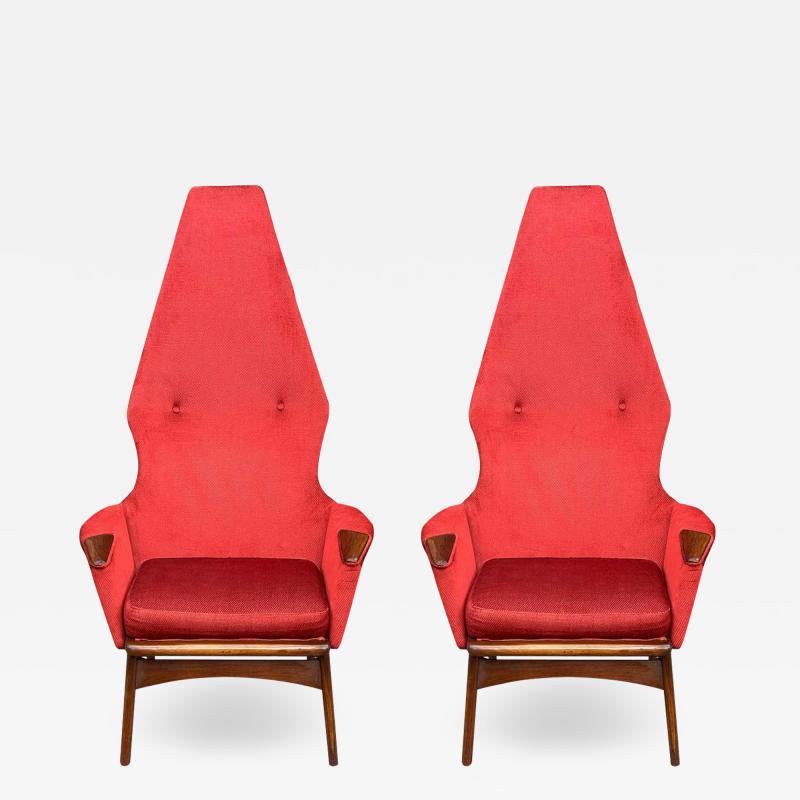 Adrian Pearsall Pair Mid Century Modern Sculptural High Back Lounge Chairs by Adrian Pearsall