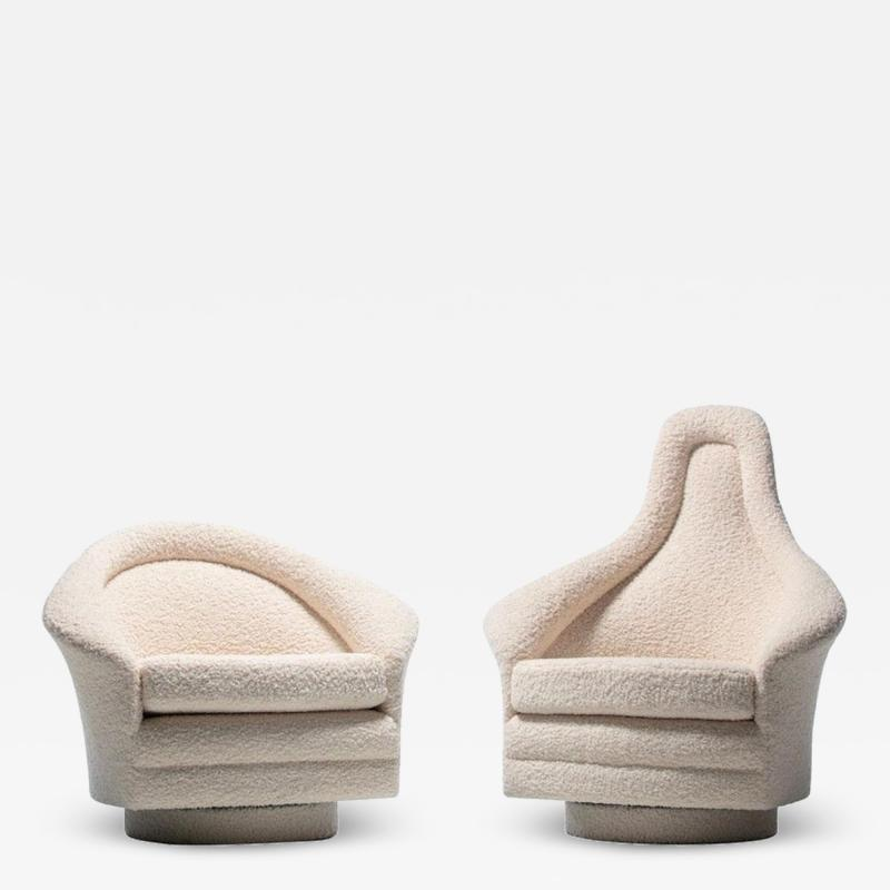 Adrian Pearsall Pair of Adrian Pearsall Mom Pop Swivel Lounge Chairs in Ivory Boucl