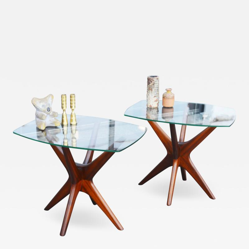 Adrian Pearsall Pair of Solid Afromosia Teak Jacks Jax Side Tables by Adrian Pearsall