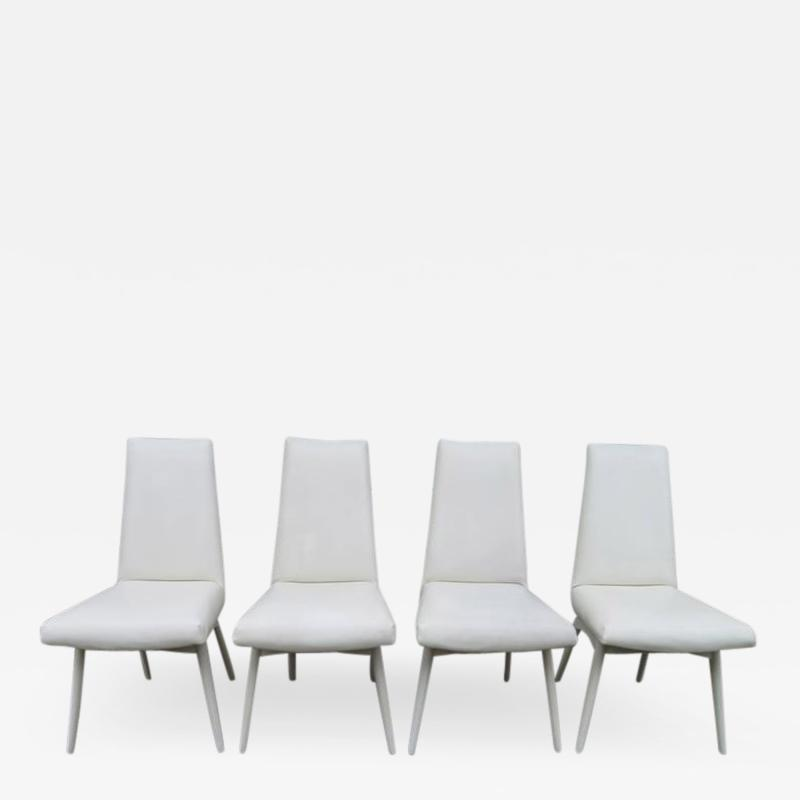 Adrian Pearsall Set Four Adrian Pearsall White Lacquered Dining Chairs Mid Century Modern