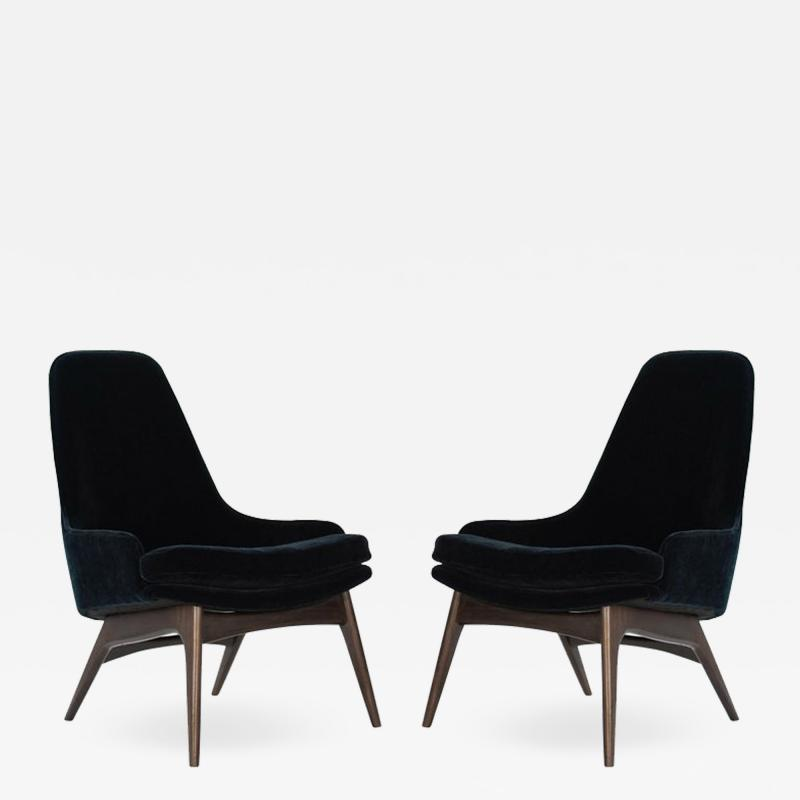 Adrian Pearsall Set of Slipper Chairs by Adrian Pearsall in Navy Mohair 1950s