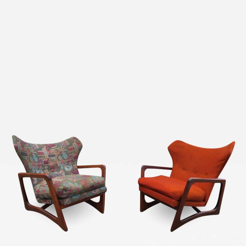 Adrian Pearsall Stylish Pair Adrian Pearsall Unique Wing Back Chair Sculpted Walnut Midcentury
