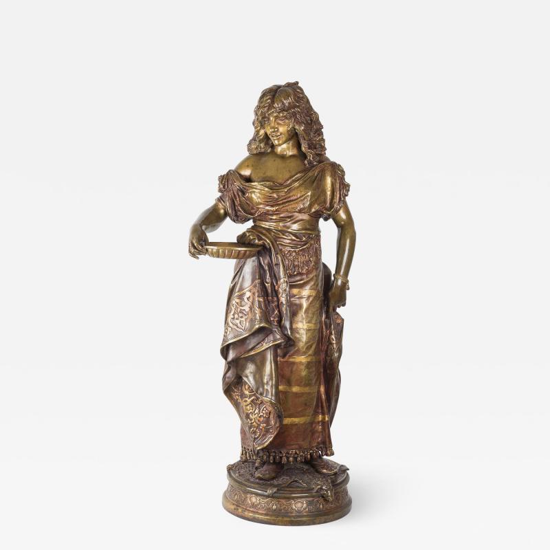 Adrienz tienne Gaudez A Fine Polychrome Bronze Sculpture of a Gypsy Woman