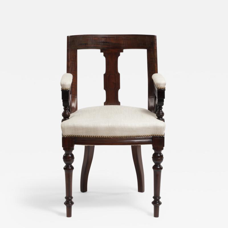 Aesthetic Style Mahogany Armchair with Greek Key Design