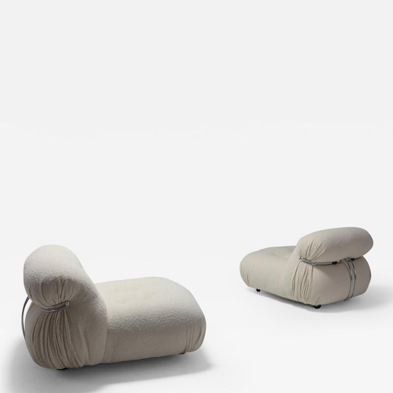 Afra Tobia Scarpa Cassina Soriana Lounge Chairs by Afra and Tobia Scarpa in Boucl Wool 1970s