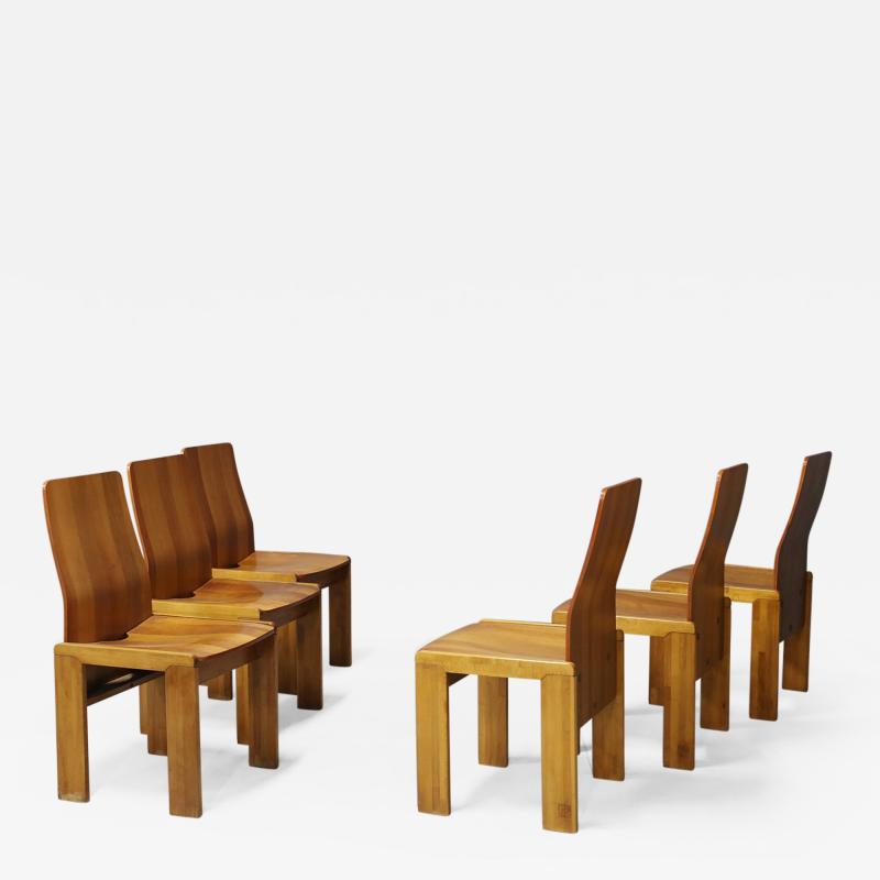Afra Tobia Scarpa Pair of six Afra Tobia Scarpa MidCentury Chair in wood 1980s
