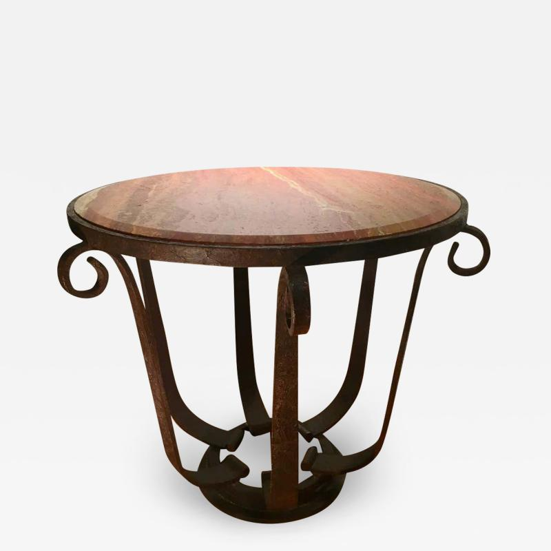 After Raymond Subes Wrought Iron and Marble Table