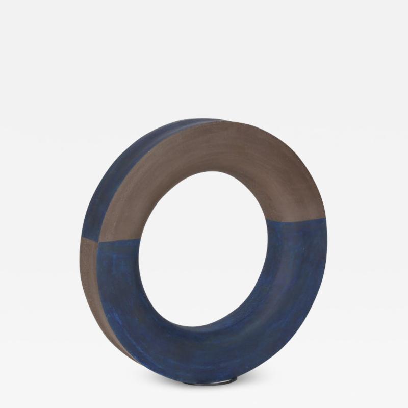 Agn s Nivot Contemporary Ceramic Sculpture Anneau Arc Bleu