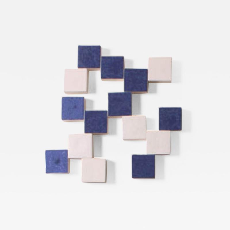 Agn s Nivot Contemporary Ceramic Wall Art Mural Bleu