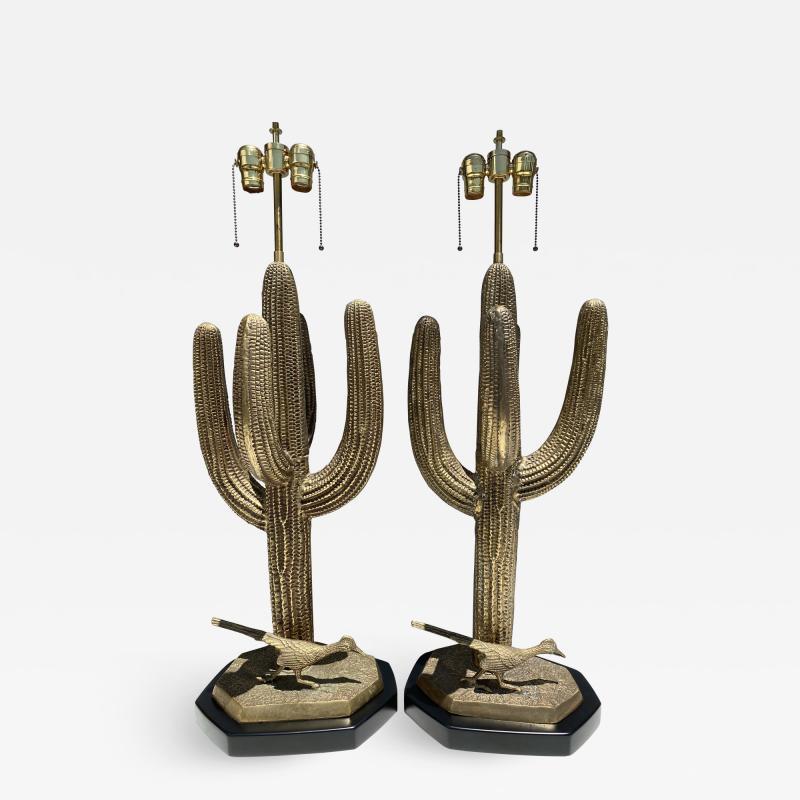 Alain Chervet Pair of Brass Giant Saguaro Cactus Lamps