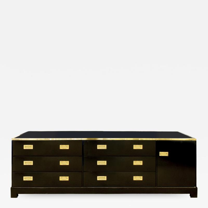 Alain Delon Maison Jansen Elegant Chest of Drawer in Black Lacquer with Brass 1970s