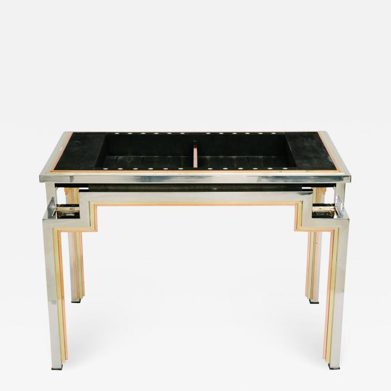 Alain Delon Tri Metal Backgammon Table by Alain Delon for Maison Jansen