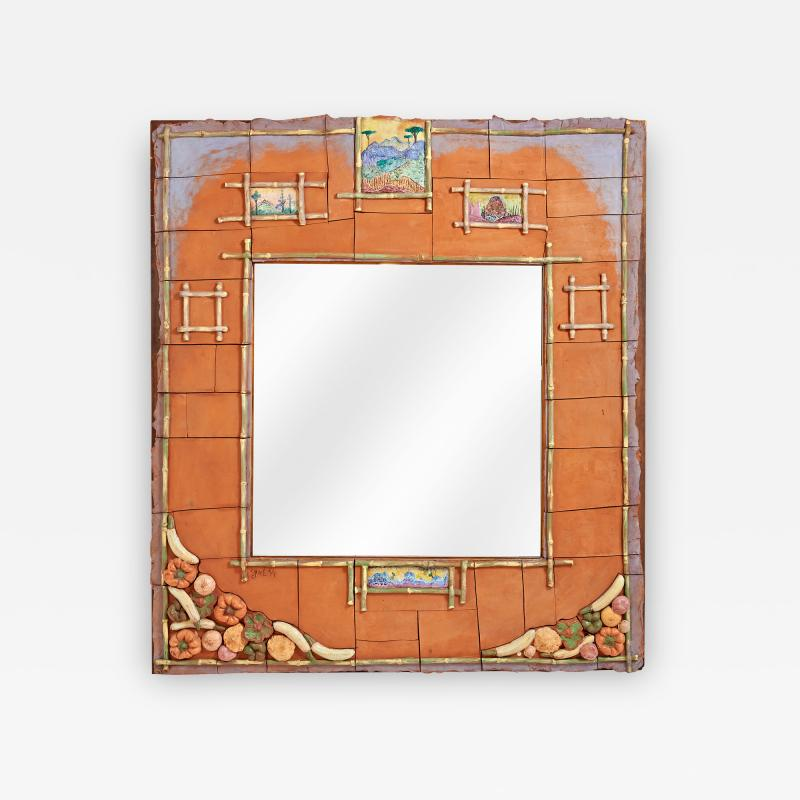Alain Girel Magnificent Ceramic Mirror by Alain Girel for Hermes