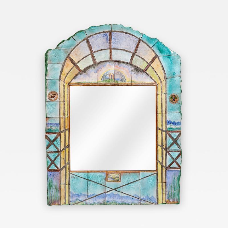 Alain Girel Magnificent Ceramic Mirror by Alain Girel for Hermes