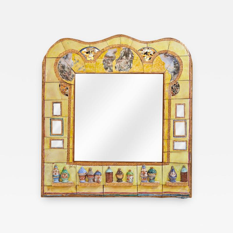 Alain Girel Magnificent Yellow Ceramic Mirror by Alain Girel for Hermes 1994