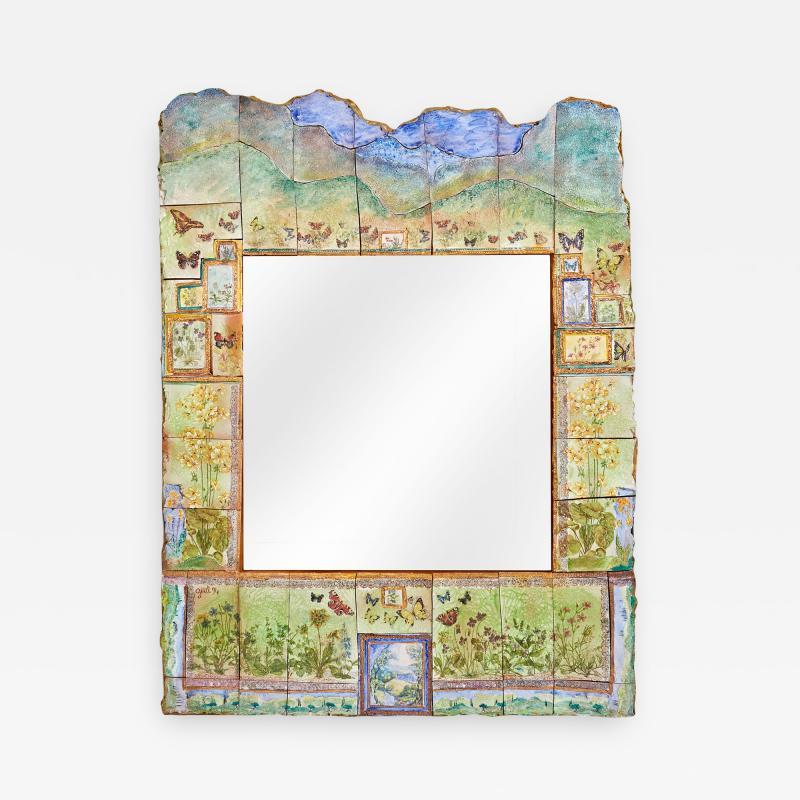 Alain Girel Spectacular Ceramic Mirror by Alain Girel for Hermes