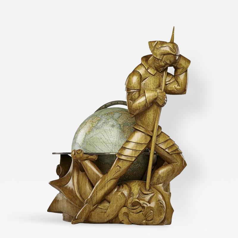 Albert Poels Philips Carved Wood Sculptural Globe by Albert Poels Belgium 1939