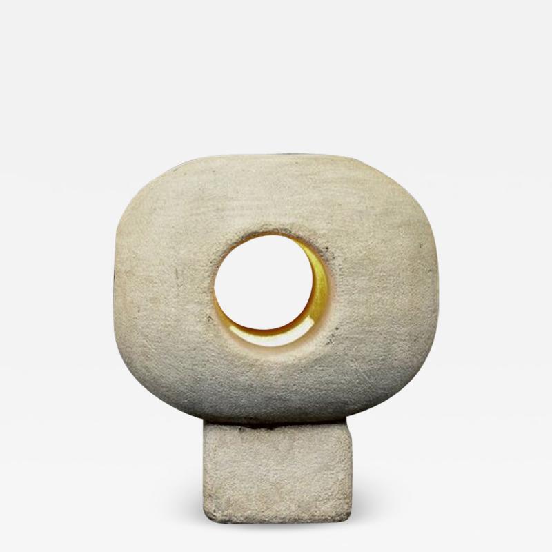 Albert Tormos ALBERT TORMOS SCULPTURAL FRENCH CARVED STONE TABLE LAMP