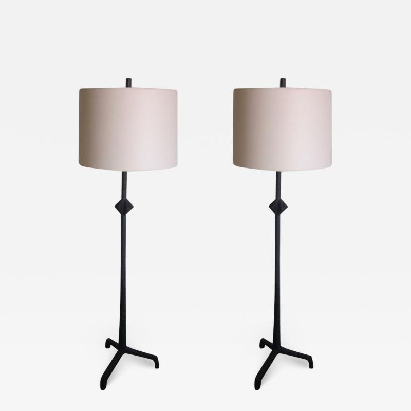 Alberto Diego Giacometti Custom Pair of French Iron Floor Lamps Style of Giacometti Jean Michel Frank