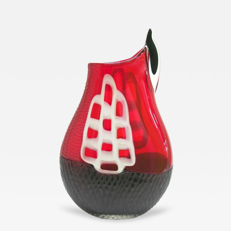Alberto Dona Alberto Dona 1980s Modern Red and Black Murano Glass Vase with White Murrine