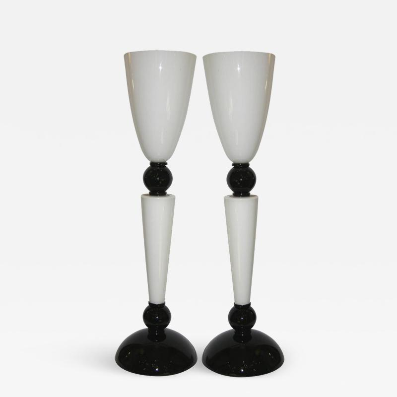Alberto Dona Alberto Dona Monumental Art Deco Black and White Murano Glass Table Floor Lamps