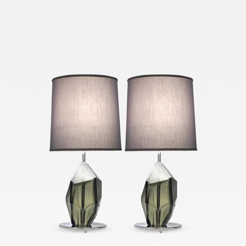 Alberto Dona Don Contemporary Italian Pair of Faceted Solid Rock Smoked Murano Glass Lamps