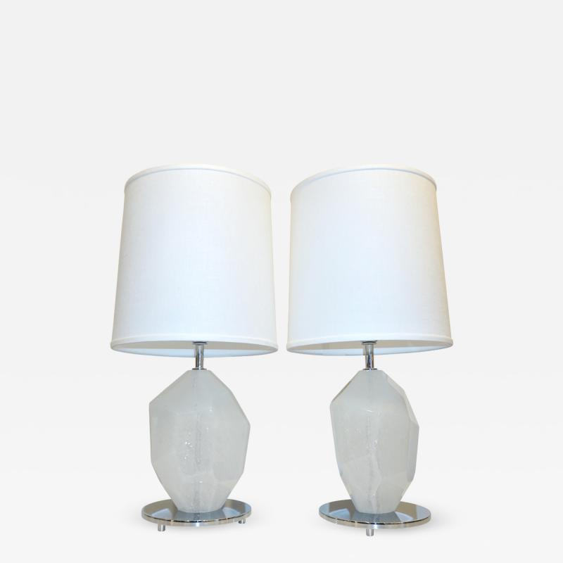 Alberto Dona Don Contemporary Italian Pair of Faceted Solid Rock White Murano Glass Lamps