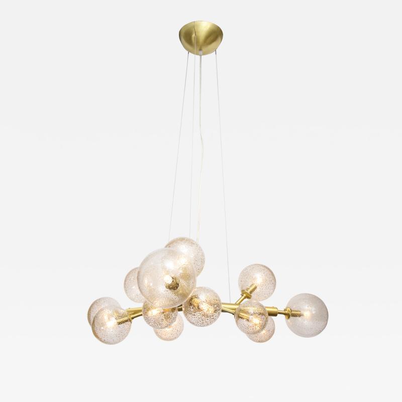 Alberto Dona Italian Murano Brass 12 Light Globe Chandelier By Alberto Dona