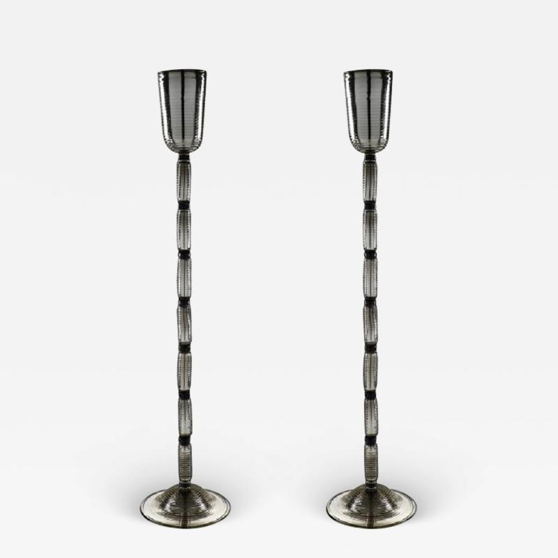 Alberto Dona Murano Glass Mirrored Floor Lamps