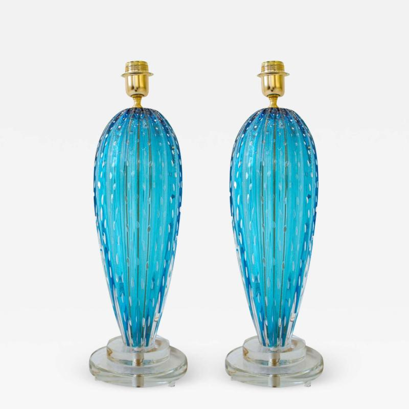 Alberto Dona Pair of Aquamarine Blue or Blue Topaz Murano Glass Lamps Italy Signed