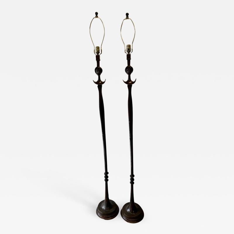 Alberto Giacometti Pair of Bronze Floor Lamps in the Style Giacometti