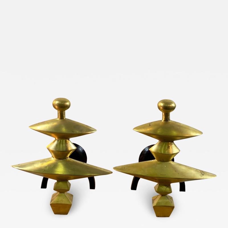 Alberto Giacometti Pair of Sculptural Andirons in the Manner of Alberto Giacometti
