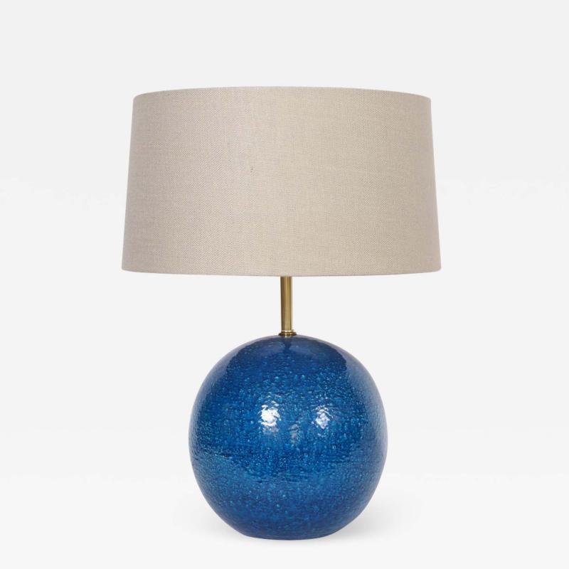 Aldo Londi Aldo Londi for Bitossi Persian Blue Ball Table Lamp circa 1950s