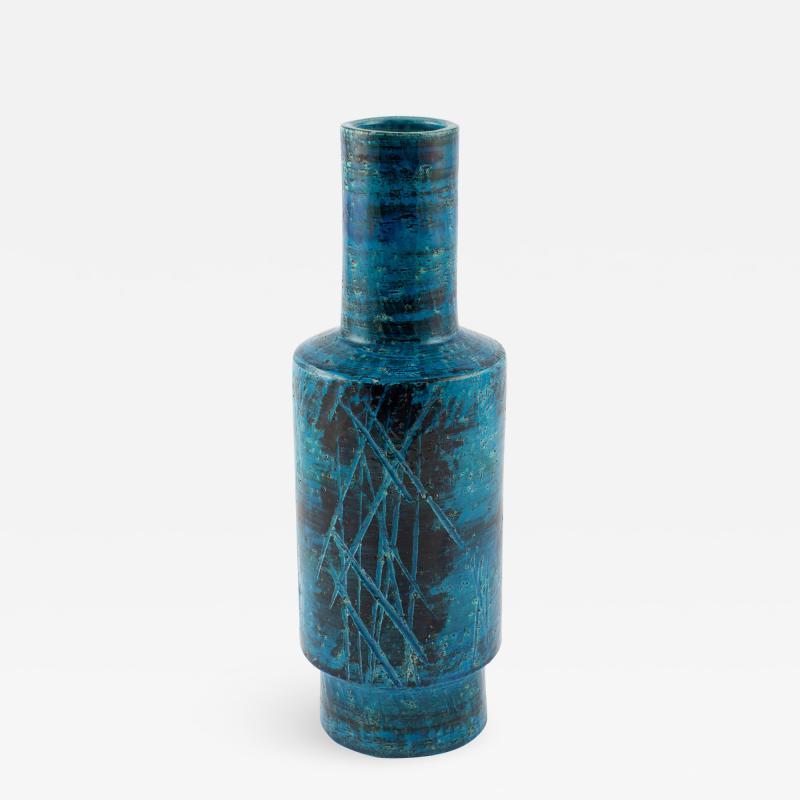 Aldo Londi Aldo Londi for Bitossi blue and black cylindrical vase circa 1960s