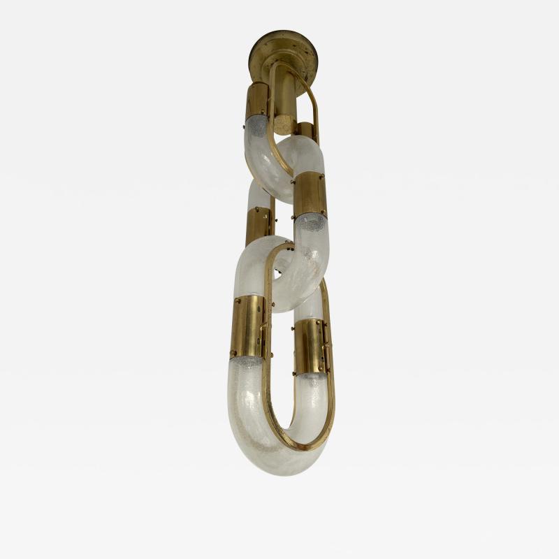 Aldo Nason Brass Chain Chandelier Murano Glass by Aldo Nason for Mazzega Italy 1970s