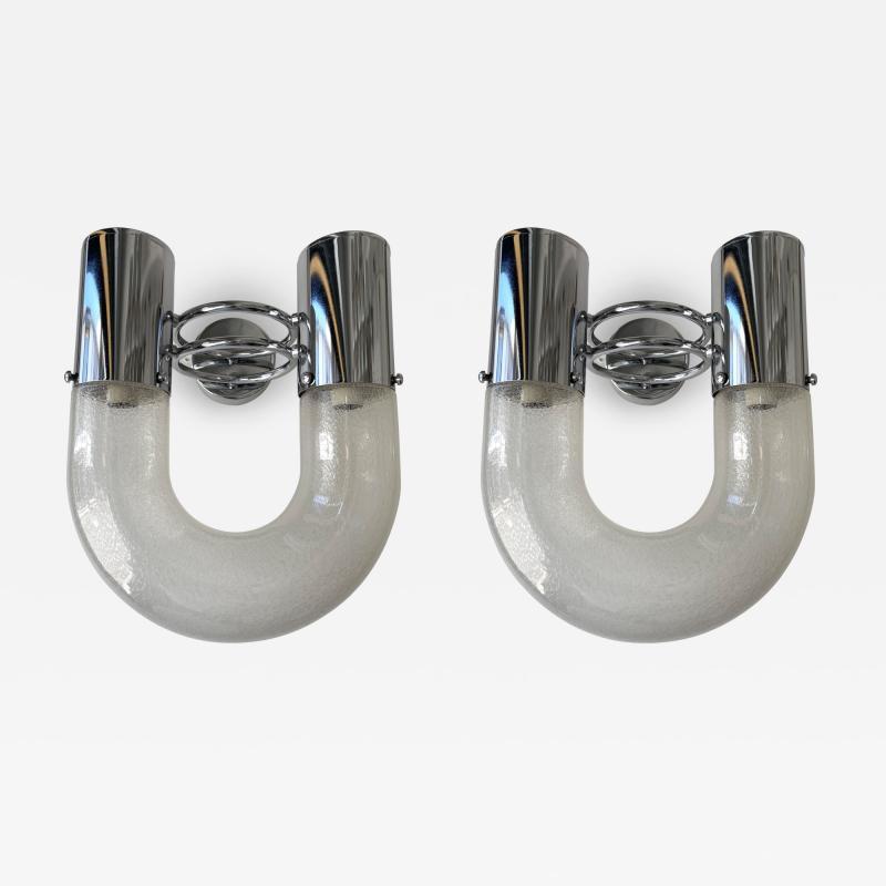 Aldo Nason Pair of U Sconces Metal Murano Glass by Aldo Nason for Mazzega Italy 1970s