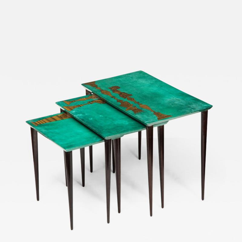 Aldo Tura 3 Piece Emerald Leather Nesting Table Set by Aldo Tura