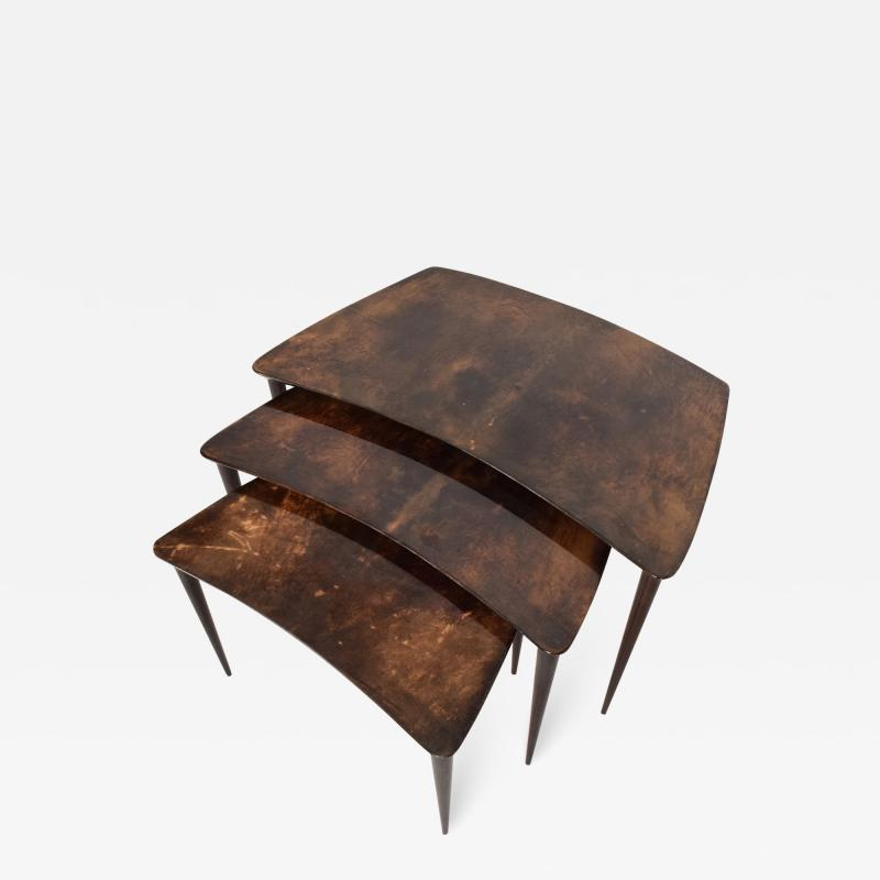 Aldo Tura Aldo TURA Nesting Tables Lacquered Brown Goatskin Italian Mahogany MILAN 1960s