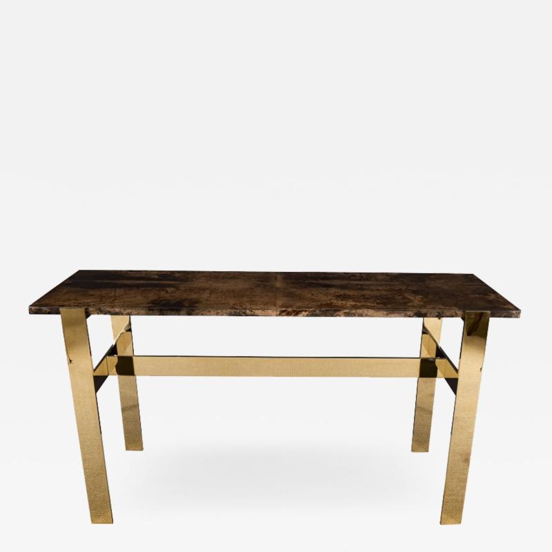 Aldo Tura Aldo Tura Console Table with Contemporary Mirror Polished Bronze Base