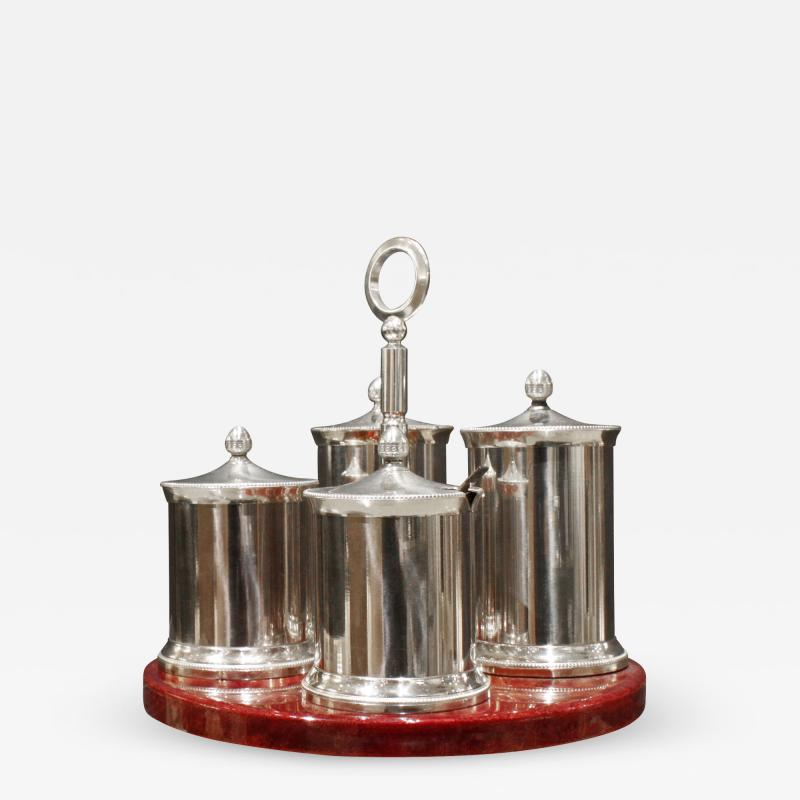 Aldo Tura Aldo Tura Cruet Set in Red Lacquered Goatskin and Stainless Steel 1970s signed