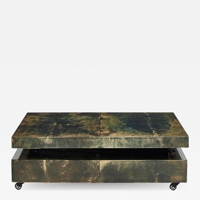 Aldo Tura Aldo Tura Green Goat Skin Lacquered Coffee Table