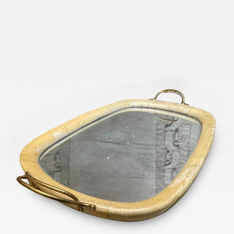 Aldo Tura Aldo Tura Macabo Exquisite Serving Tray Mirrored Goatskin Brass ITALY 1940s