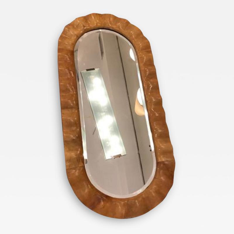 Aldo Tura Aldo Tura Oval Mid Century Wall Mirror in Stained Goat Skin